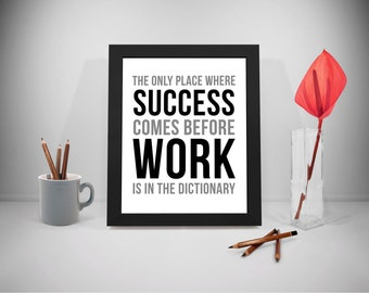 Success Printable Quotes, Work Sayings, Dictionary Print Art, Business Inspirational Prints, Office Decor, Office Art