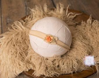 Peach Newborn Headband, Stretch Knit Headband