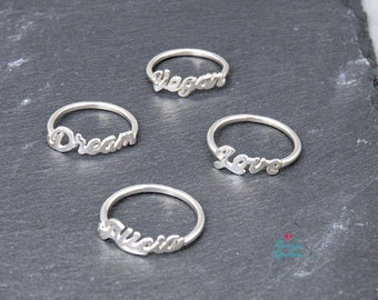 Name Ring Name Word Ring | Silver Name personalized Ring | Personalized name ring | Silver name | Handmade Name | Ring name