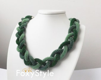 Beaded crochet necklace green necklace gift for her office necklace fashion necklace elegant necklace gift for wife Crochet necklace OOAK