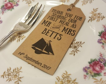 Nautical Wedding Tags - Boat Wedding Tags - Maritime Wedding Tags - Navy Wedding Tags - Thank you for sharing our first meal tags