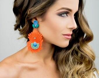 Boho-Chic, Long Orange Earrings, Fashion Jewelry, Wholesale Fashion,Chandelier Earrings, Wedding Jewelry, Colorful Jewelry, Dangle Earrings