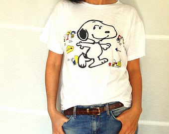 Vintage Snoopy t-shirt women white cotton tshirt charlie brown t-shirt funny t-shirt with sayings vintage 1980s size S M US size 6-8