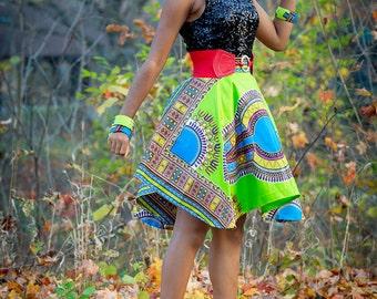 Green Dashiki Circle Skirt Blue Dashiki Ankara knee length skirt African Skirt Ankara Sexy Skirt Valentines Gift for Her Neon African Dress