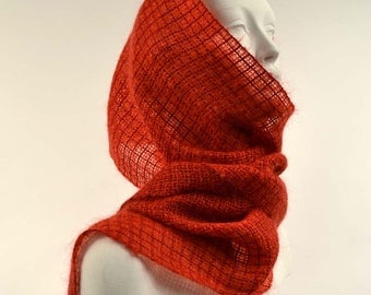 Handwoven scarf, fire red. Little red wrap, stole kidmohair and tencel. Light weaving, transparent scarf.