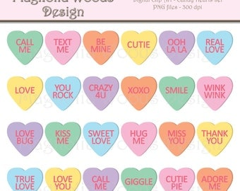 Candy Hearts Clip Art, Candy Heart Clip Art, Candy Hearts PNG, Digital Candy Hearts, Valentine's Day Clip Art, Small Commercial Clip Art