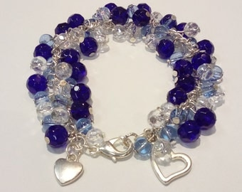 SALE....Blue And Clear Glass Cluster Bracelet.