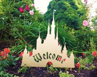 Disney Cinderella Castle Inspired Welcome Sign for your Yard or Garden