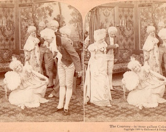 """1900 Colonial Dressed Party, """"The Courtesy"""" Stereoview Photo"""