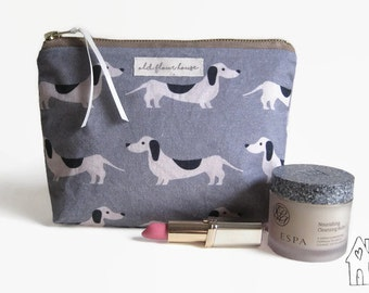 Dachshund Makeup Bag, Sausage Dog Makeup Bag, Wiener Dog Cosmetics Bag, Toiletry Bag, Makeup Pouch, Blue Cotton Makeup Bag, Old Flour House