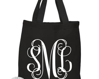Custom Cursive Monogram Initials, Personalized Name, Bridal Party Gifts, Canvas Tote Bag in 7 Colors, Handbag, Purse