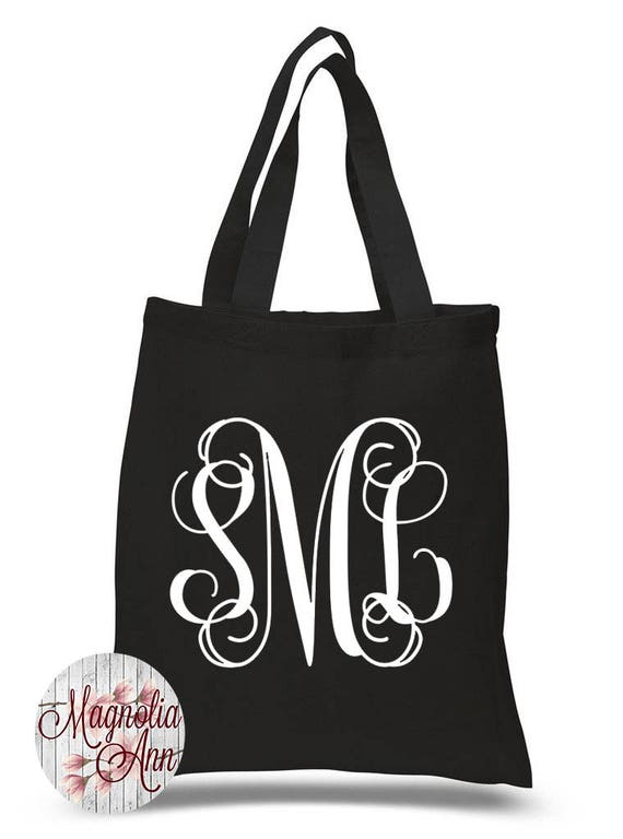 Custom Cursive Monogram Initials, Personalized Name, Bridal Party Gifts, Canvas Tote Bag in 7 Colors, Handbag, Purse