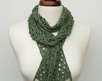 Silk crochet scarf, narrow summer scarf, green scarf, lacy crochet scarf, gift for her, women's accessory