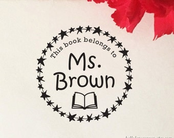 This Book Belongs To Stamp, Custom Book Stamp, Personalized Teacher's Name Stamp, Self Inking Stamp, From The Library of, Teacher Gift