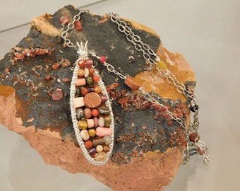 Wire Wrapped Multicolor Long Oval Pendant Necklace