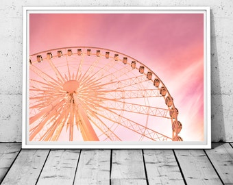 Ferris Wheel Photography, Nursery Wall Art, Carnival Print, Baby girl gift, baby shower gift, ferris print, pink wall decor, Digital print