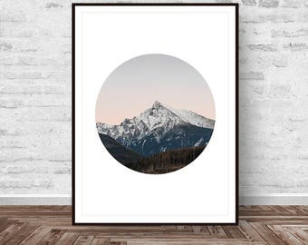 Mountain Print, Nature Photo, Mountain Photography, Modern Minimalist, Fog Photo Print, Nordic Decor, Wilderness, Large Poster Art Printable