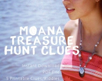 Moana Games, Moana Treasure Hunt: Printable Clues, Princess Party Games, Instant Download - PDF