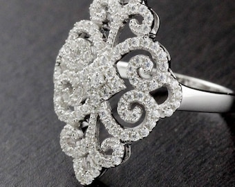 Womens Solid 925 Sterling Silver CZ Micro Pave Setting Adorned Ring 24mm