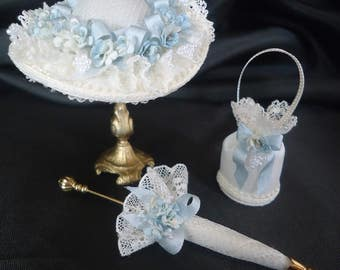 Elegant 3-piece hatset 1/12th scale.