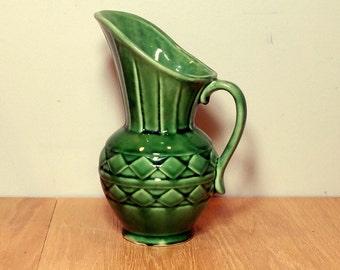 Mid Century GREEN PITCHER Vintage Vase Green Ewer Retro Green Vase