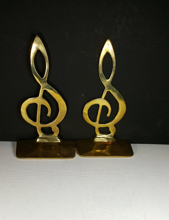 Vintage brass bookends gift for music teacher musician choir - Treble clef bookends ...