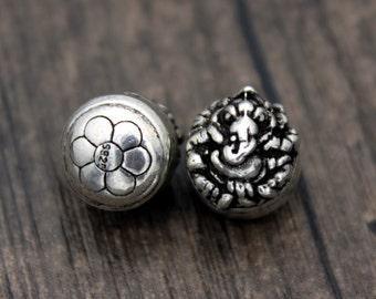 Sterling Silver Ganesha Beads, Ganesh Spacer Beads, Garnesh, Lord Ganesha, Elephant God