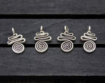 4 Karen Thai Hill Tribe Sterling Silver Spiral Swirl Charms,DIY Findings for Earrings, Bracelet and Necklace