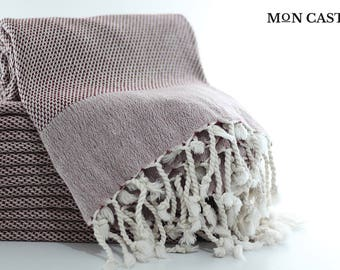Double Sided | Turkish Bath Towel  | Burgundy | Turkish Towel | Peshtemal | Bathroom Decor | Extra Thick | Super Soft | Mon Castle