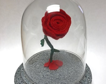 Tiny Rose, Enchanted Rose, Beauty and the Beast Rose, Red Rose, Gifts for Her, Felt Rose, Small Felt Flower, Red Felt Rose, Small Rose
