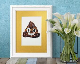 "Sea Glass Poop Emoji Print - Golden 8x10"" Mat with 5x7"" seaglass mosaic print of poo emoji"