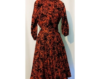 50s Orange and Black Fireworks Dress with Zipp Brand Zipper