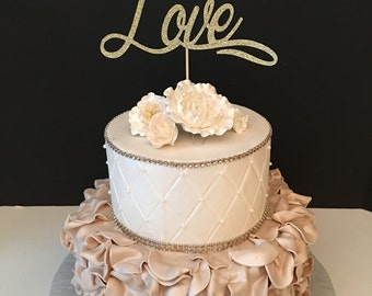 Love Cake Topper, Anniversary Cake Topper, Bridal Shower Cake Topper, Valentines Day Cake Topper