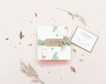 Folded Invite / Peony Folded Wedding Invitation / Rustic Wedding / Wedding Invitations / Wedding Invites / Boho Wedding Invite / Rustic