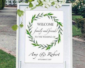 Wedding welcome sign printable, printable wedding welcome sign digital, greenery welcome sign, laurel wreath sign, reception entrance sign