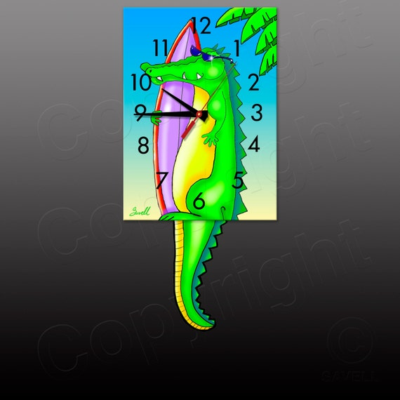 Gator Surf Clock with a Swinging Gator Tail Pendulum • Alligator Clock