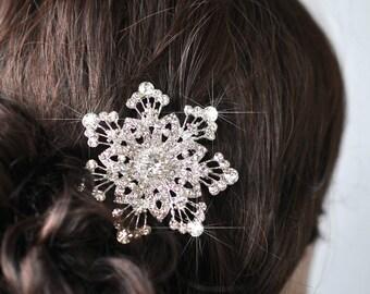 Handmade Vintage Inspired Crystal Rhinestone Snowflake Hair Clip, Bridal, Wedding (Sparkle-2086)