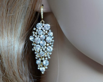 Crystal Rhinestone Yellow Goldplate Cluster Dangle Earrings, Bridal, Wedding (Sparkle-1041)