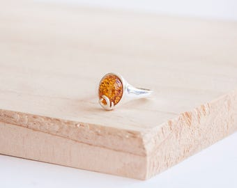 Jean Silver Flame Ring, Sterling Silver, Baltic Amber, Amber Ring, Fire Ring, Amber Fire, Silver Fire Ring, Flame Jewelry, Amber Jewelry