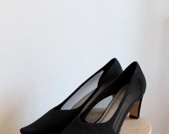 SALE! Vintage Black Mesh Heels by Karen Scott 9M