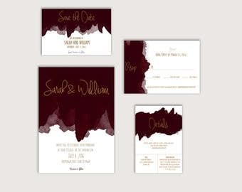 No. 10 (Wine) | Printable 4 x 6 Save the Date | 5 x 7 Wedding Invitation | 5 x 3.5 RSVP | 5 x 3.5 Details Card