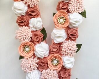 Custom Felt Flower Initial - Flower Wall art - Nursery Decor - Felt Flowers