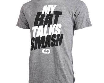 My Bat Talks Smash Short Sleeve Softball T-shirt, Softball Shirts, Softball Gift - Free Shipping!