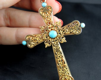 Old cross in gold and turquoise - nineteenth century / / / Antique gold cross with turquoise - 19th Century