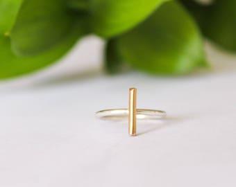 Gold Bar Ring, Bar Ring, Mixed Metal Ring, Minimalist Ring, Statement Ring, Silver Bar Ring, Minimalist Jewelry, Silver Ring, Gold Ring