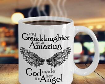 Granddaughter Guardian Angel | Sympathy Mug | Bereavement Mug | Memorial Gift Mug | Grief Mug | Memorial Mug | Angel Wings | Remembrance Mug