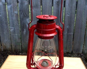 Vintage Railway Lamp, Red Lantern, Vintage Japanese Railway Lamp, Red Winged Wheel #500, Oil Lantern, Original Glass Shade with logo