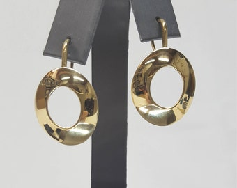 RARE Tiffany & Co Frank Gehry 18K Yellow Gold Circle/Oval Drop/Dangle Earrings!