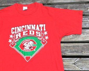 Beautiful 1988 Vintage Cincinnati Reds Mr. Red Mascot MLB t-shirt Large Made in Canada