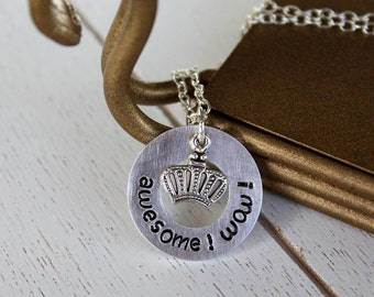 "Hamilton inspired ""awesome! wow!"" Necklace - Humorous - King George - Crown - What Comes Next? - Broadway Musical Theater Fan - Gift"